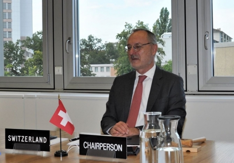 The Swiss Chair, Didier Chambovey, at the EFTA Council meeting on 22 September 2020 in Geneva.