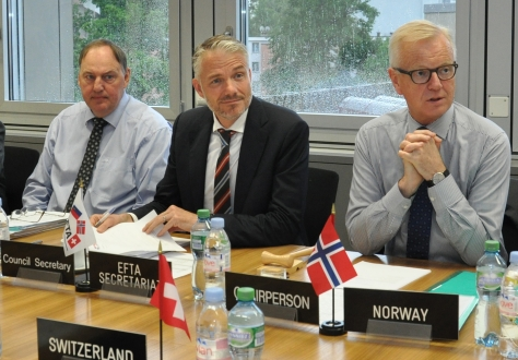 From left: Kristinn F. Árnason, Secretary-General, EFTA; Adalsteinn Leifsson, Director, Secretary-General's Office, EFTA; Harald Neple, Ambassador and Permanent Representative to the WTO and EFTA in Geneva