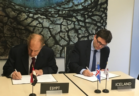 Mr Sayed Elbous, Senior Advisor at the Ministry of Trade and Industry of Egypt signed for the Egypt side and Mr Finnur Thór Birgisson, Counsellor and Deputy Permanent Representative at the Permanent Mission of Iceland in Geneva signed for the EFTA side.