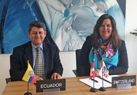Vice Minister Humberto Jiménez Torres and Minister Karin Büchel at the meeting in EFTA headquarters in Geneva