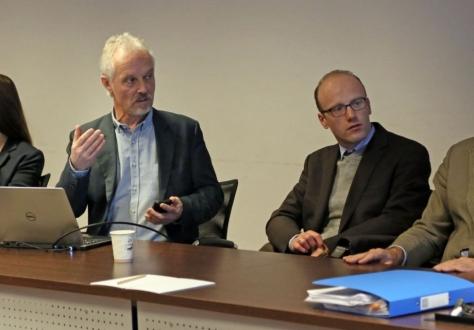 From left: Nadine Dünner, EFTA Secretariat, Haakon Aspelund (Norway), Chair of the Strategic Advisory Group on Accessibility (SAGA),  Sebastien Morard (Switzerland) Thomas Näf (Liechtenstein), Chair of the TBT Committee.