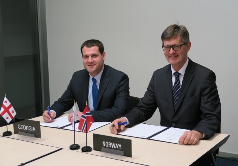 Mr Genadi Arveladze, Deputy Minister of Economy and Sustainable Development, Head of the Georgian delegation, and Mr Jan Farberg, Director-General of the Ministry of Trade, Industry and Fisheries of Norway, EFTA Spokesperson