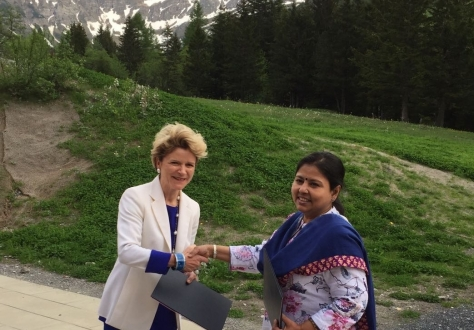 State Secretary Marie-Gabrielle Ineichen-Fleisch from Switzerland (on the left) and Anita Praveen, Joint Secretary in the Department of Commerce (on the right)
