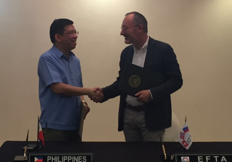 Undersecretary Ceferino S. Rodolfo of the Department of Trade and Industry (DTI) and Ambassador Didier Chambovey of the Swiss State Secretariat for Economic Affairs (SECO)