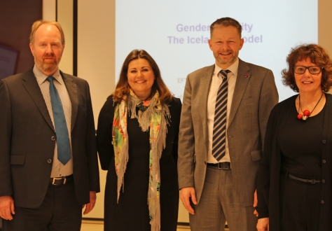 Minister Víglundsson with speakers and panelists during the seminar on 9 March
