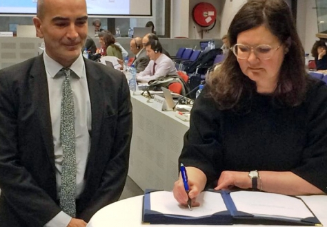 Icelandic Ambassador to the EU Bergdís Ellertsdóttir signs the Joint Initiative on Standardisation on behalf of Iceland. Next to her Joaquim Nunes de Almeida, Director in DG Grow.