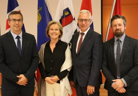 From left: Pascal Schafhauser, Deputy Secretary-General, Hege Marie Hoff, Deputy Secretary-General, Henri Gétaz, Secretary-General, Andri Lúthersson, Deputy Secretary-General.